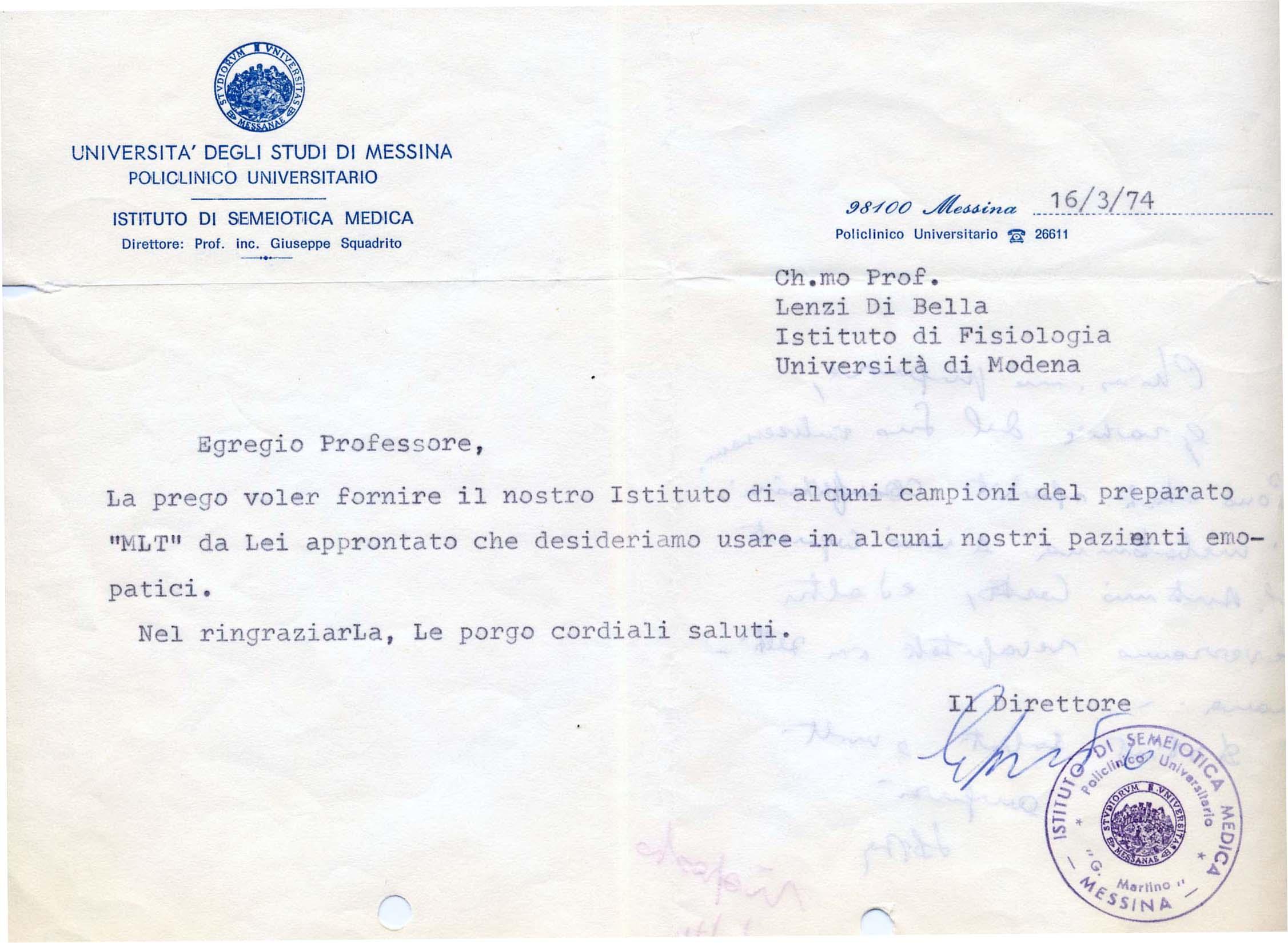 Lettera Policlinico Universitario - Università degli Studi di Messina 1974